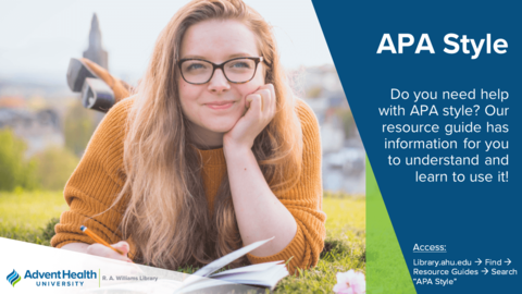 Do you need help with APA style?  Our resource guide has information for you to understand and learn to use it!