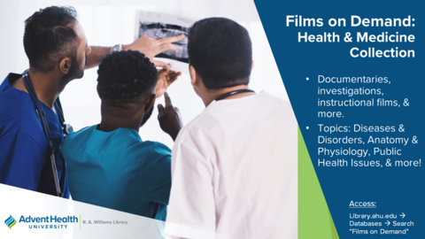 Films on Demand: Health and Medicine Collection.  Documentaries, investigations, instructional films & more.  Topics:  Diseases & Disorders, Anatomy & Physiology, Public Health Issues & more!