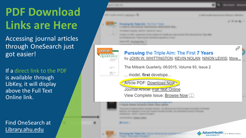 Accessing journal articles through OneSearch just got easier! If a direct link to the PDF is available through LibKey, it will display above the Full Text Online link. Find OneSearch at Library.ahu.edu